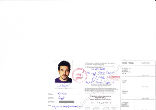 VDWS Surfing Licence