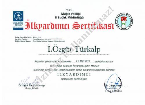 First Aid Certification(İlk Yardım Sertifikası)