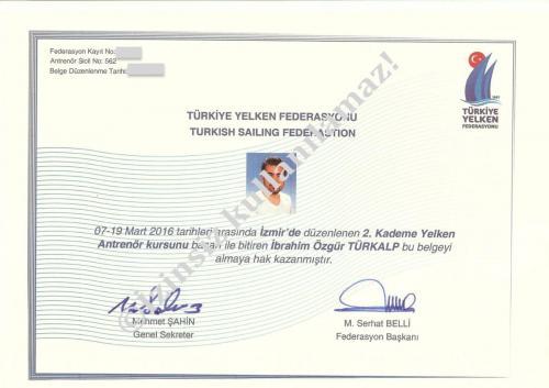 Sailing Coach Certification (Yelken Antrenörlüğü Sertifikası)