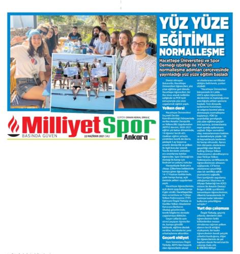 Milliyet Ankara Gazete-Yüz yüze Eğitime Dönüş22.06.2021